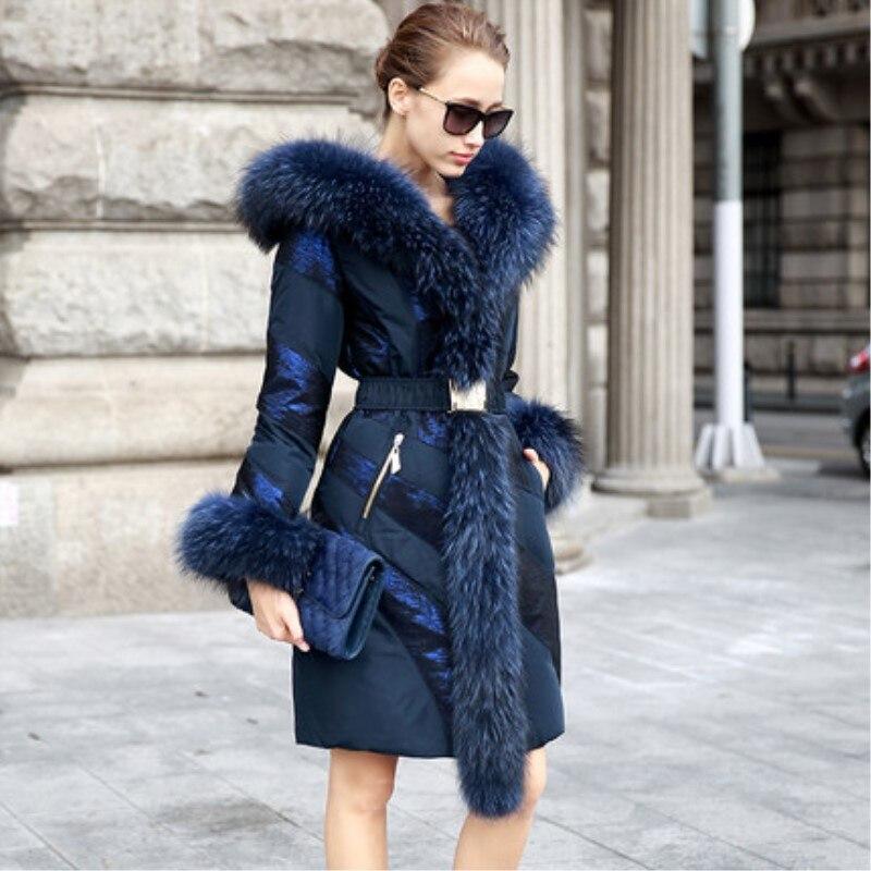 Snowimage Mode Haute Qualité Moyen-long Manteau Patchwork Grand Col De Fourrure de la Mode Féminine Mince Épais Vêtements D'hiver