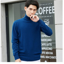 2019 Sweater Men Autumn Winter Warm Mens Cashmere Knitted Wool Sweaters Solid Color Casual  Turtleneck sweater  Pullover Men