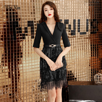 weiyin 2019 Black Cocktail Dresses Elegant V Neck Short Homecoming Dress Formal Dress Women Short Prom Gown WY1485