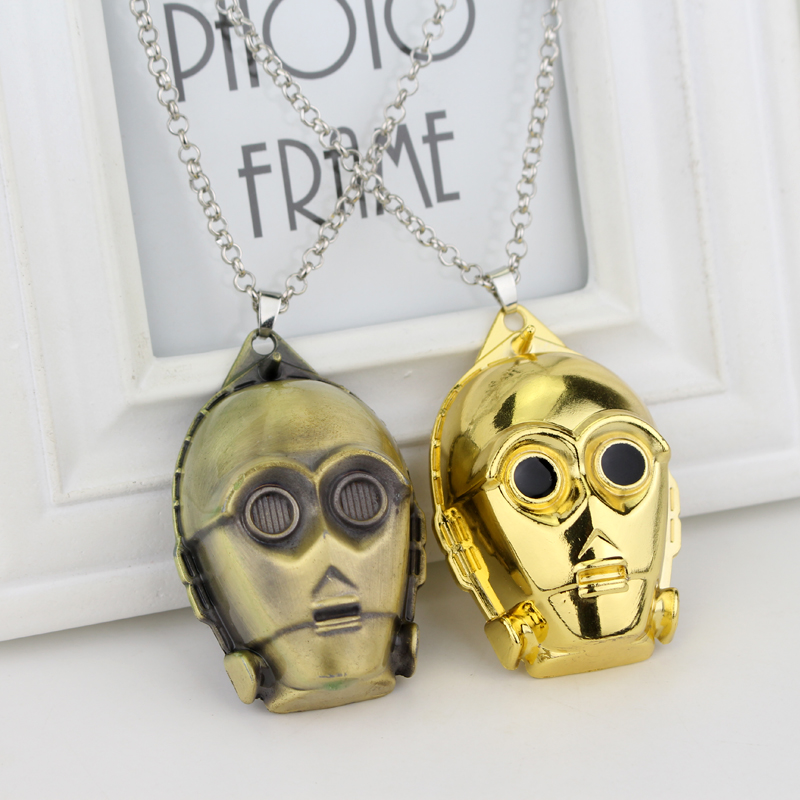 Fashion Jewelry Star Wars Charms Pendant Fashion Star Wars Darth Vader Robot C-3PO Head Gold/bronze Plated Pendants & Necklaces