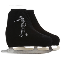 24 Colors Child Adult Velvet Ice Skating Figure Skating Shoes Cover Roller Skate Fabric Accessories White Skater 3 Rhinestone