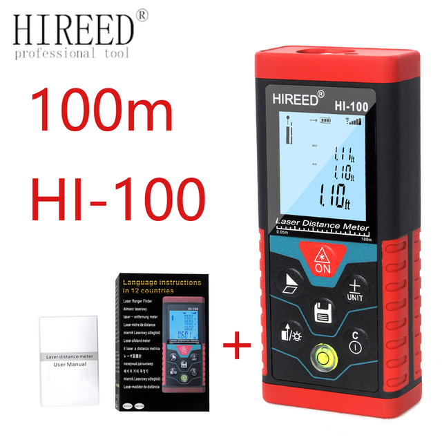 HIREED เลเซอร์ 40M 120M 100M Digital Rangefinder trena เลเซอร์ช่วง Finder สร้างวัดอุปกรณ์ไม้บรรทัด