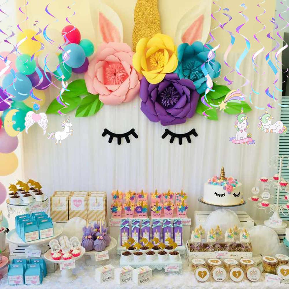 Set Of 12 Iridescent Foil Unicorn Rainbow Swirls Hanging Decorations Kids First Birthday Baby Shower DIY