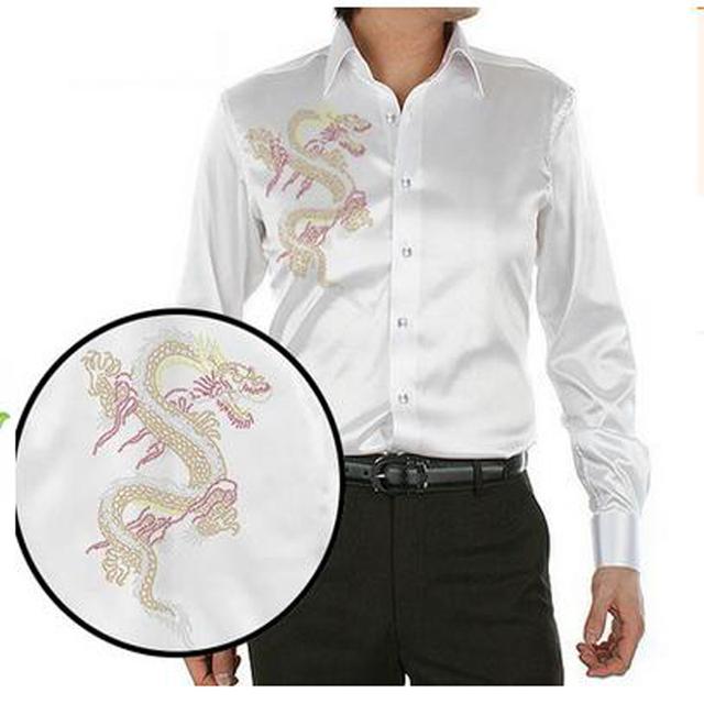 2017 nuevo llega la moda del diseño del dragón chino de cristal montaje hombres camisa de seda ocasional de los hombres de verano de manga larga delgada camisa de los hombres