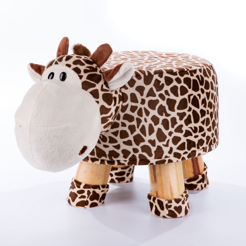 Cartoon Animal Wood Creative Sand Stool Soft Cloth Furniture Living Room Home Change Shoe Baby Child Toy Stool Cute