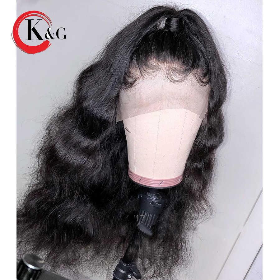 KUNGANG 13 * * * * * * * 6 ส่วนลึกลูกไม้ด้านหน้ามนุษย์ Wigs Body Wave บราซิล Remy วิกผมมนุษย์ผู้หญิง pre Plucked ผมเด็ก
