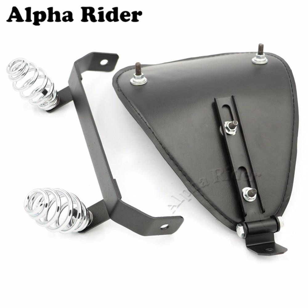 Flame Leather Solo Seat Cover Pad & Bracket Mounting Kit for Honda Yamaha Kawasaki Suzuki Harley Sportster Bobber Chopper Custom car pad for honda civic 1 8l 2 0l pad mat cup pad 16 modified leather latex