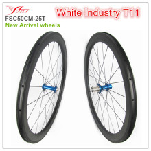 50mm tubeless road bicycle wheelsets 700C racing bike wheelsets with White Industry T11 hub,  durable Ti cassettebody