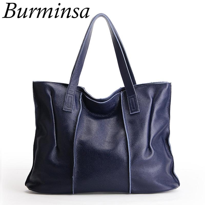 Burminsa Brand 100% Genuine Leather Bags For Women Large Designer Handbags High Quality Tote Shoulder Bags Bolsas Femininas 2017 футболка gerry weber 32 25t3