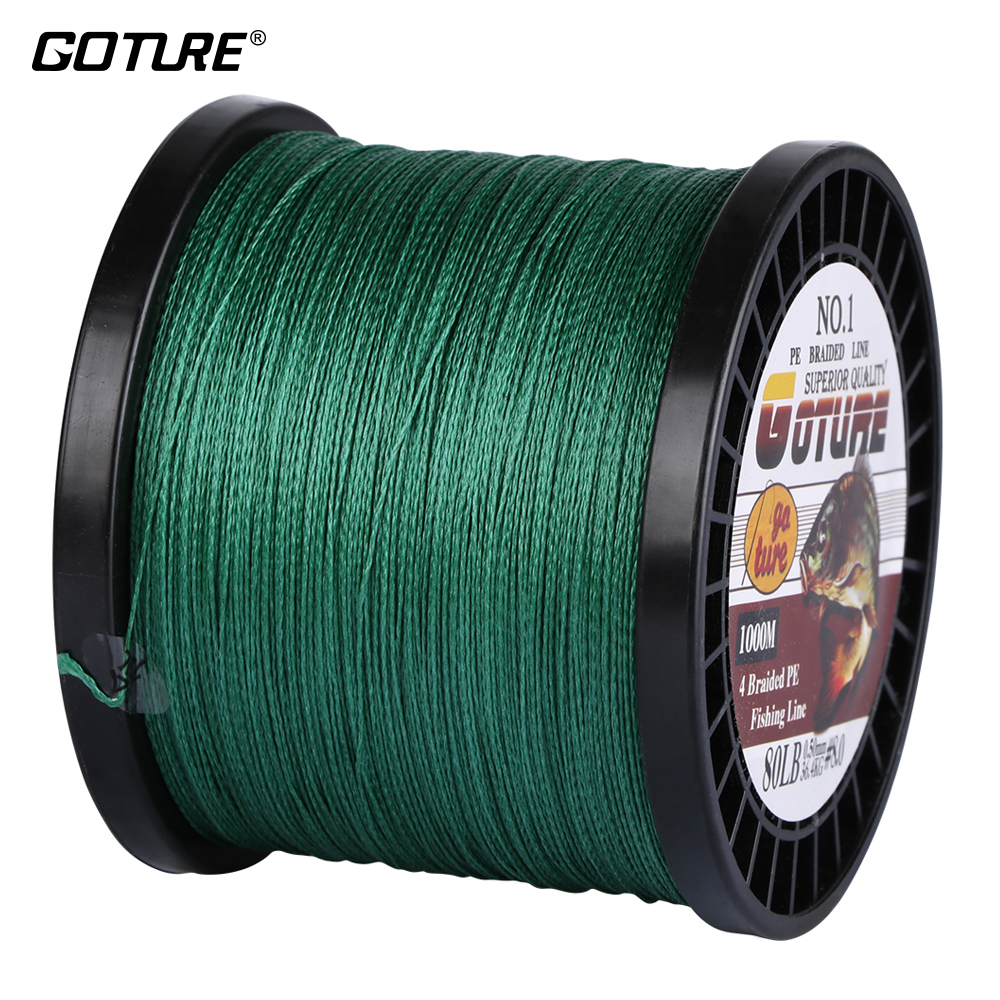 Goture Brand 1000M Braided Multifilament Fishing Line 12lb - 80lb PE Material Strong Fishing Cord Rope for Fresh and Salt Water