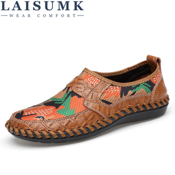 LAISUMK Summer Breathable Mesh Shoes Mens Casual Shoes Genuine Leather Slip On Brand Fashion Summer Shoes Man Soft Comfortable personalized tassel rivet fashion breathable slip on genuine leather men shoes rhinestone handmade casual party nightclub shoes