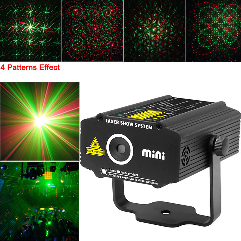 Mini 4 patterns Whirlwind Red&Green Laser Lighting Stage Projector Shop Disco House Home Xmas DJ Club KTV party light SHOW p1617 laser stage lighting 48 patterns rg club light red green blue led dj home party professional projector disco dance floor lamp