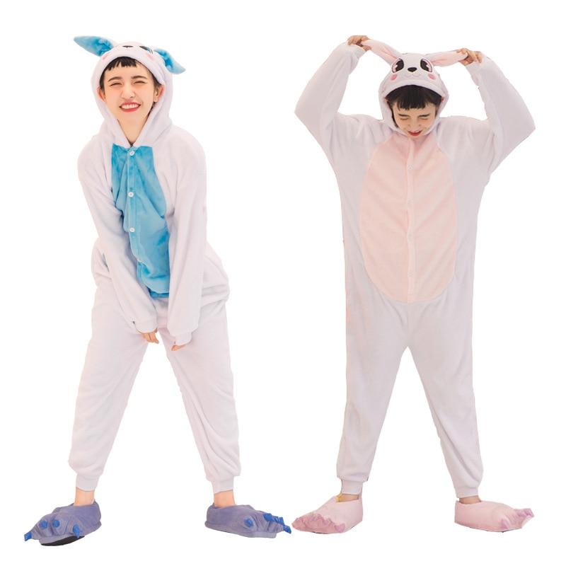 Мать Отец дочь мальчик Платья для женщин Семейные комплекты пижамы с капюшоном пижамы кролик Косплэй пижамы Pijamas синий розовый