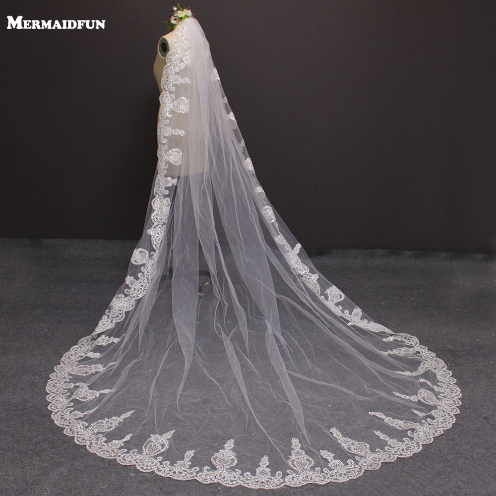 New 3 Meters Lace Edge One Layer Cathedral Wedding Veil Long Bridal Veil For Wedding Drress