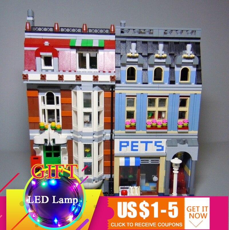 15009 2082PCS City Pet Shop Supermarket Model City Street Building Blocks Compatible with 10218 Children Educational Toys stadtstrabe creator pet shop supermarkt modell lepin 15009 2082 stucke baustein kinder spielzeug kompatibel 10218 ziegel