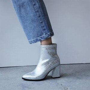Image 5 - FEDONAS موضة جديدة مثير الحيوان يطبع بولي Leather جلد النساء حذاء من الجلد 2021 الخريف الشتاء جديد أشار تو عالية الكعب تشيلسي الأحذية