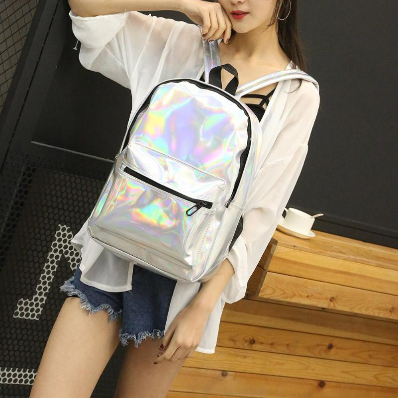 Holographic Backpack Women College Backpacks Casual Girls Shiny Shoulder Bags Rucksack School Bag For Girls Mochilas Drop Ship