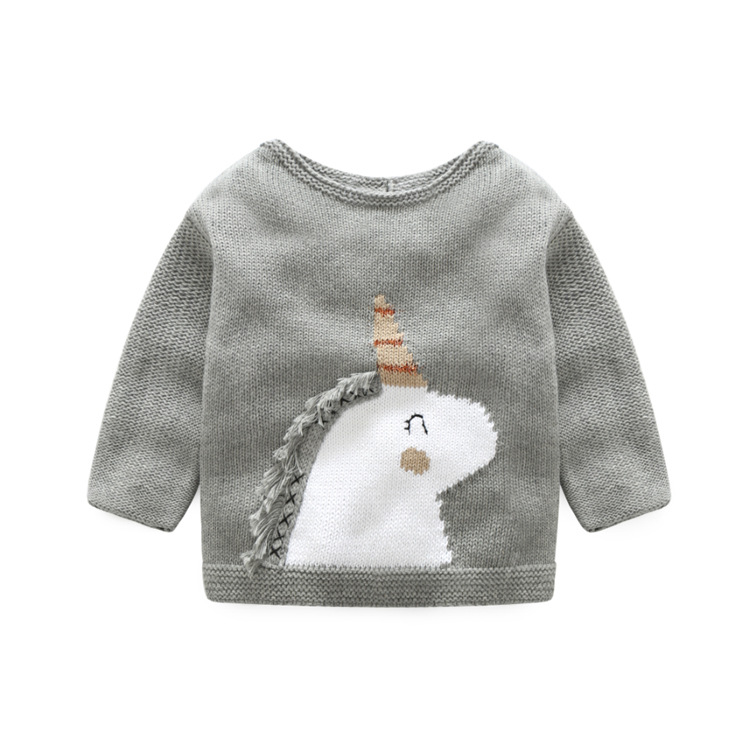 New Boys Winter Autumn Infant Baby Unicorn Sweater Boy Girl Clothes Kids Sweater 2017 O-neck Sweater Children Outerwear Tops