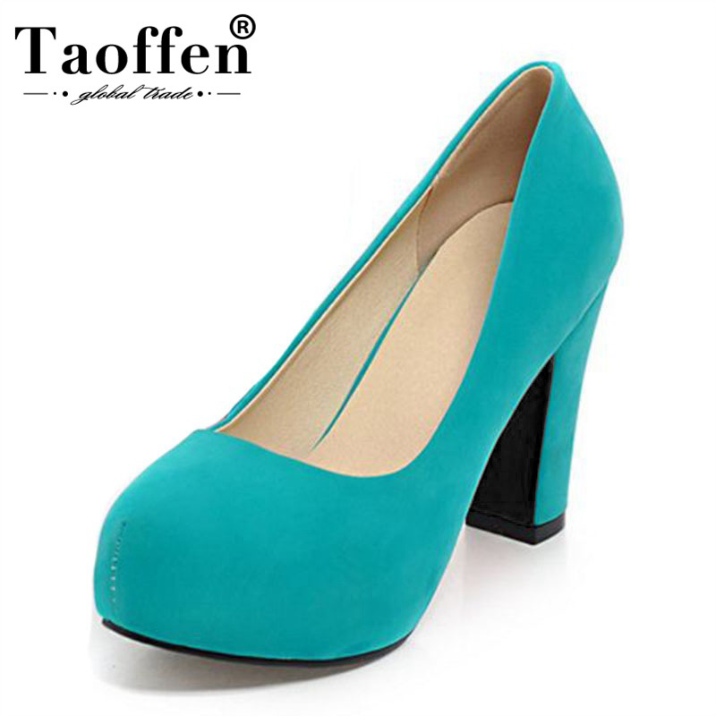 TAOFFEN Women New Spring 5 Colors Fashion Pumps Round Toe Wedding Office Ladies High Heel Shoes Women Party Pumps Size 32-43