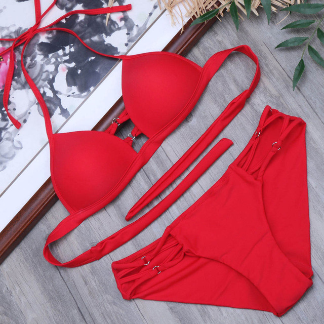 0d971f5c4d72 Bikini rojo Bikinis 2019 Mujer Biquini traje de baño Push Up para Monokini  ropa playa corte nuevo