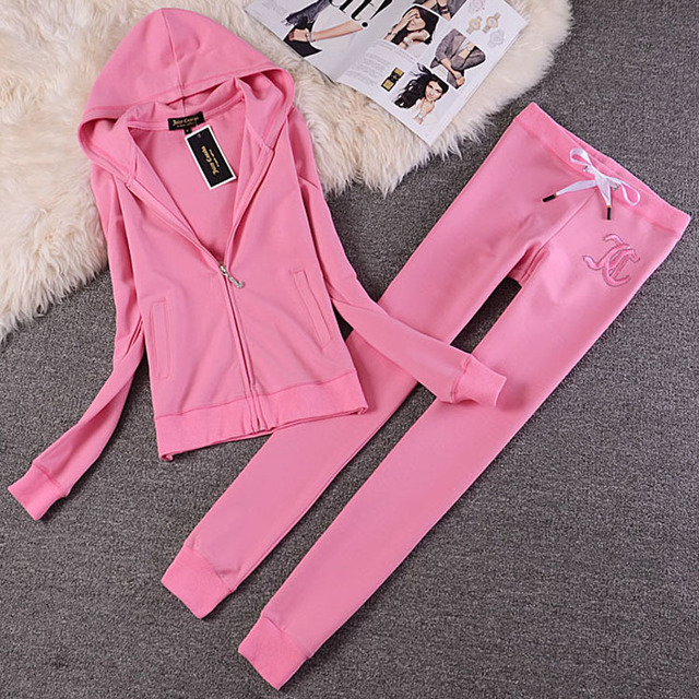 Fashion Casual Velvet Fabric Women Tracksuits Velour Suit Hoodies Tops and Sweat Pants Set S-XXL 3
