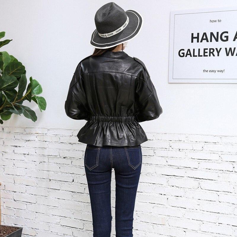 Fit Cuir Nouveau Vêtments Manteaux Femmes Automne Ruches Véritable Bureau Dame Costumes En D'affaires Black Veste 2019 Hiver Slim Taille Elastique gOpnxWqq