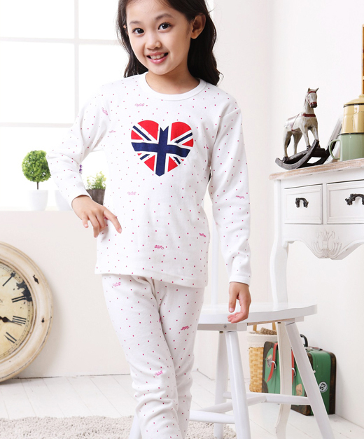 Retail девушки Пижамы Устанавливает 100% Хлопок для Весна и Осень 2016 Новых детских Пижамы Пижама Набор для Подростков девушки Нижнее Белье