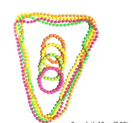 4 x Neon Party Beads Fluorescent Necklace 80s Disco Hen Night Fancy Dress New