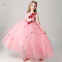 Pink Flower Girl Dresses 2019 First Comunion Sleeveless Ball Gown Ruffles Tiered Floral Floor Length Long Party Birthday Gowns