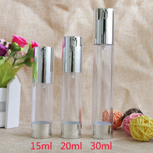 15ml 20ml30ml Empty Airless Pump Bottles Packaging Silver Transparent Travel Vacuum Cosmetic Containers Plastic Bottle 10pcs/lot