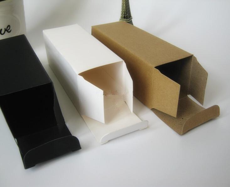 50pcs-3.5*3.5*15.6cm Blank White Black kraft Paper Box For Lipstick Perfume Essential Oil Bottle Storage valve tube