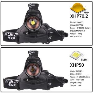 Image 2 - XHP70.2 głowica LED light 5000lm potężny reflektor latarka z zoomem latarka latarnia power bank xhp50 głowica led lampa światła