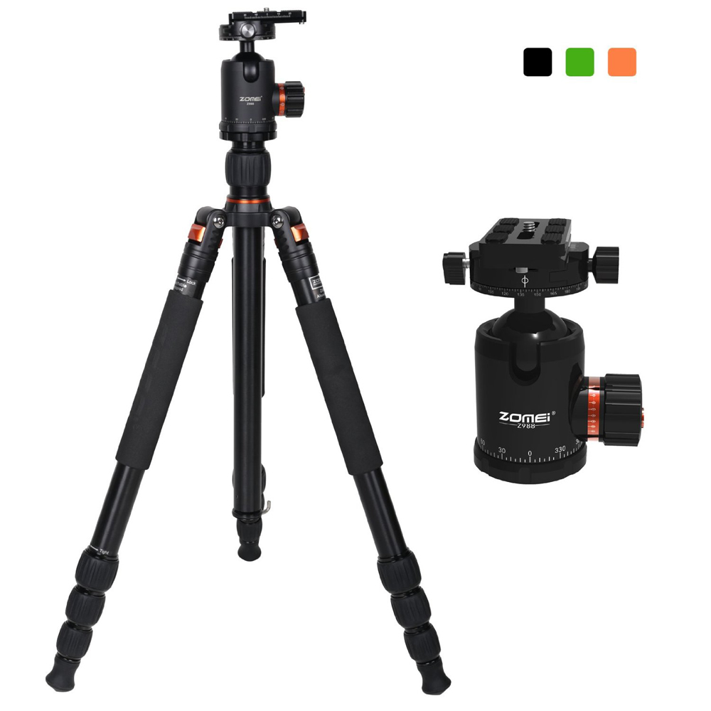 ZOMEI Z988 Professional Magnalium Complete Travel Tripod with Bubble Level and 360 Degree Rotation Ball Head for Canon Nikon