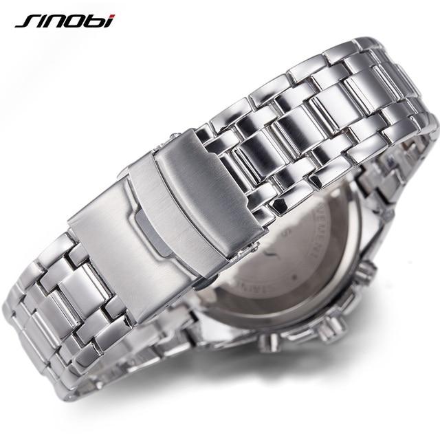 SINOBI Men Watches 2017 Luxury Brand Chronograph Luminous Stainless Steel Business Quartz Sport Waterproof Clock Male Watch xfcs