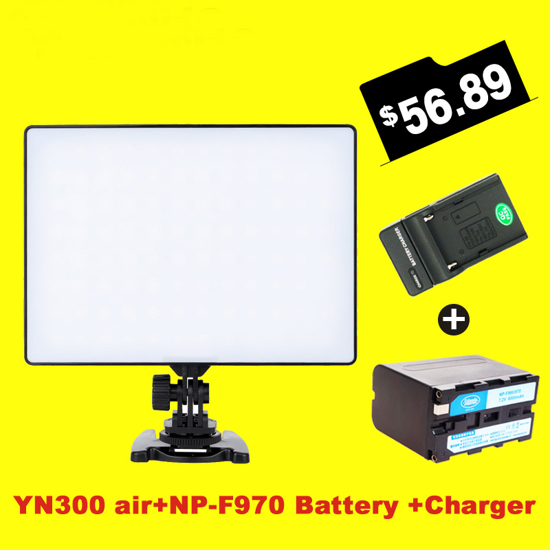 Ulanzi YONGNUO YN300 Air LED Video Light 3200K-5500K with NP- F970 Battery + Charger Kit for Canon Nikon Sony camera DSLR np f960 f970 6600mah battery for np f930 f950 f330 f550 f570 f750 f770 sony camera