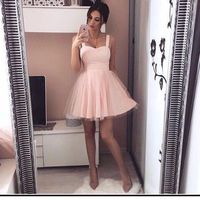 Pink 2019 Homecoming Dresses A line Spaghetti Straps Short Mini Tulle Elegant Cocktail Dresses