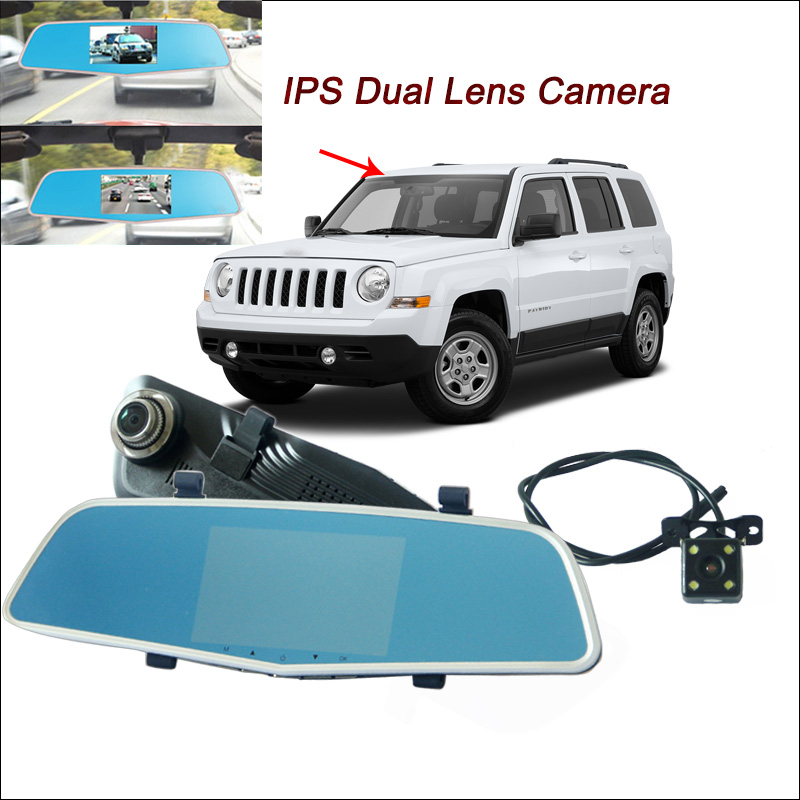 BigBigRoad For jeep patriot grand cherokee Car DVR Rearview Mirror Video Recorder Dual lens 5 inch IPS Screen dash camera bigbigroad for chevrolet orlando car rearview mirror dvr video recorder dual cameras novatek 96655 5 inch ips screen dash cam