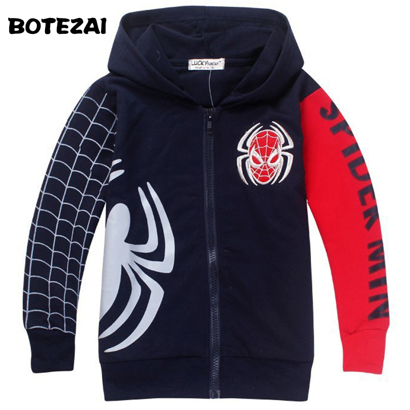 Retail 2017 Spring Autumn Children's Coat boys Spiderman embroidered hoodie jackets Kids cartoon Clothes baby outerwear