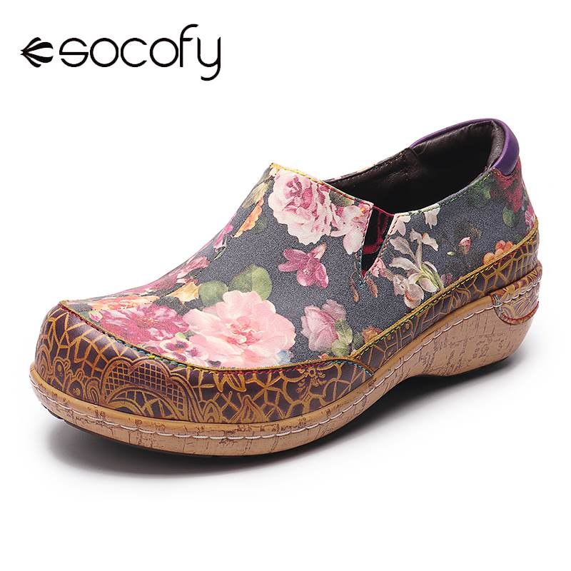 SOCOFY Super Comfy Bloom Flowers Splicing Retro Veins Stitching Slip On Leather Flat Shoes Shoes Women Flats Shoes Summer 2020