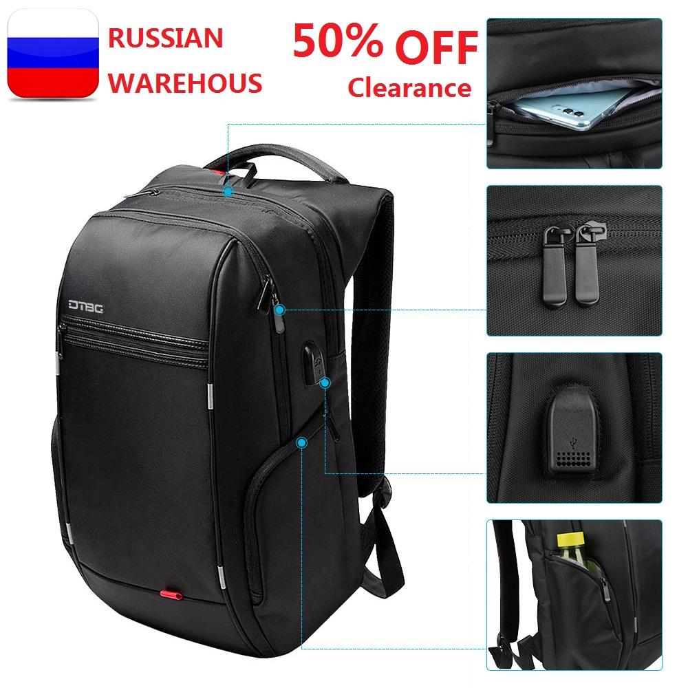 RU Notebook Backpack Anti thef men 15.6 inch With USB Chargring Port Laptop Back pack for Macbook Air pro 13 15 17 case backbag-in Laptop Bags & Cases from Computer & Office