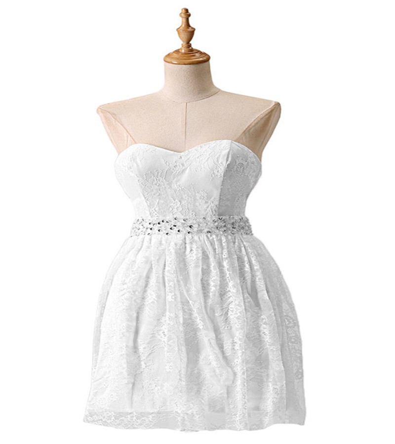 Cheap Wedding Dresses Raleigh Nc: Simple A Line Sweetheart Short Crystal White Lace Prom