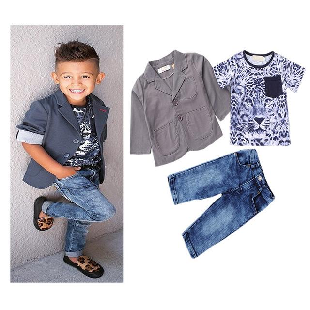 Nuevo diseño niños que arropan bebés leopard + t-shirt + jeans 3 unids cabritos de la ropa de primavera otoño arropa sistemas