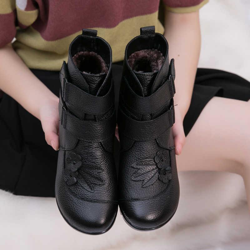 OUKAH Mùa Đông Chính Hãng Da Nữ Cổ Chân Giày Nữ 2019 Đen Phẳng Hoa Chống Nước Ấm Da Bò Ngắn Ủng Người Phụ Nữ