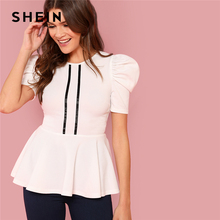 SHEIN White Preppy Striped Front Leg-of-mutton Sleeve Peplum Ruffle Round Neck Blouse Summer Women Going Out Casual Shirt Top