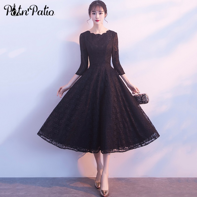 Elegant Black Lace Long Evening Dress With Long-sleeve Vintage A-Line Midi Formal Party Gowns Brief Special Occasion Dress 2018