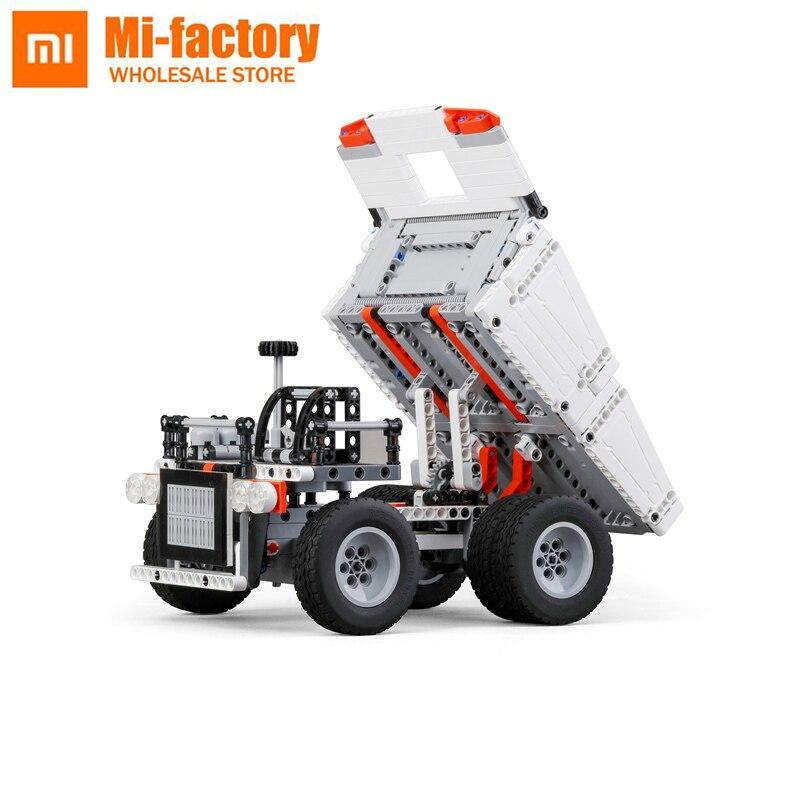 2018 nuevo Original Xiaomi Mitu bloque Robot camión minero para niños Control de volante elevador de volteo Control remoto inteligente