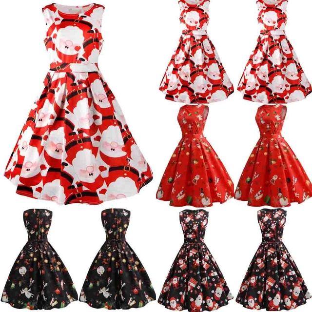 67843bfb5ff81 Women Dress Santa Claus Deer Christmas Print Vintage Party Dress Xmas  Christmas Round Neck Sleeveless Dresses