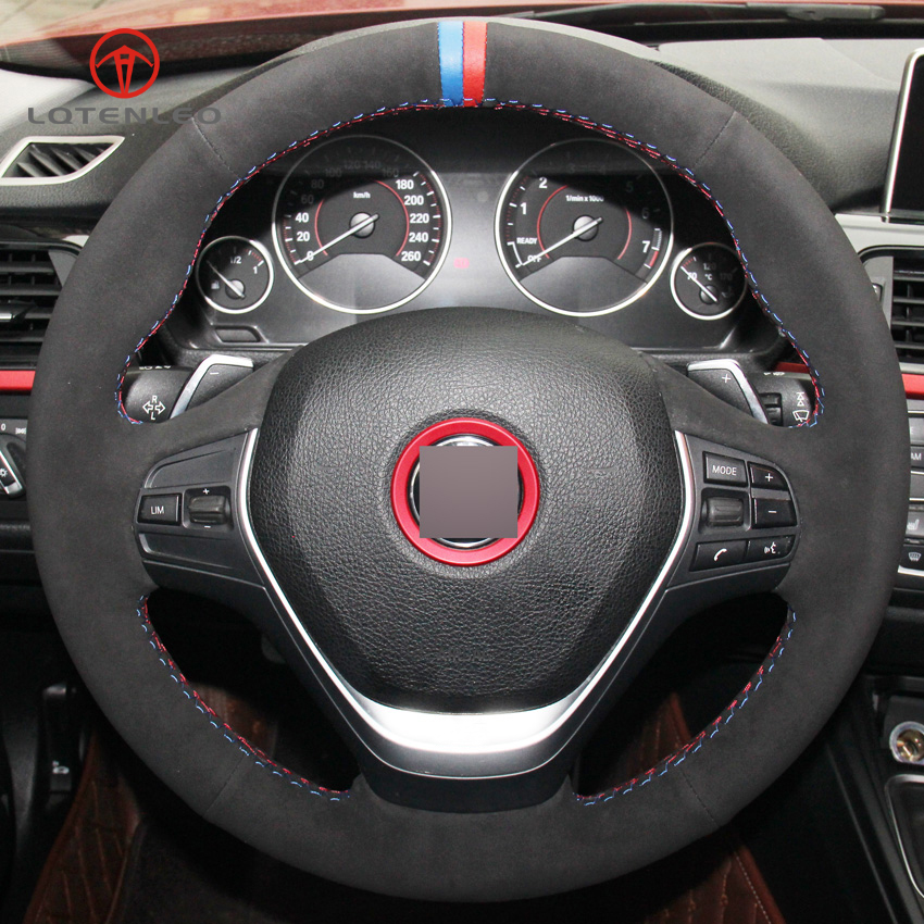 LQTENLEO Black Suede DIY Hand stitched Car Steering Wheel Cover for BMW 316i 320i 328i 320d