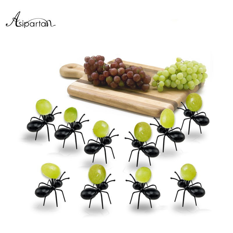 Asipartan 12pcs/set Fruit Fork Reusable Kawaii Ant Fruit Fork Tableware Multiple Use Snack Cake Dessert Forks For Party  цена