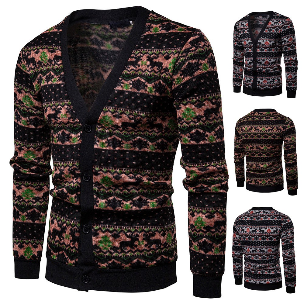 Autumn Men's Sweater Coat Mens Casual Autumn Printed Long Sleeve Knit Sweaters Top Blouse Cardigan кофта женская свитер женский